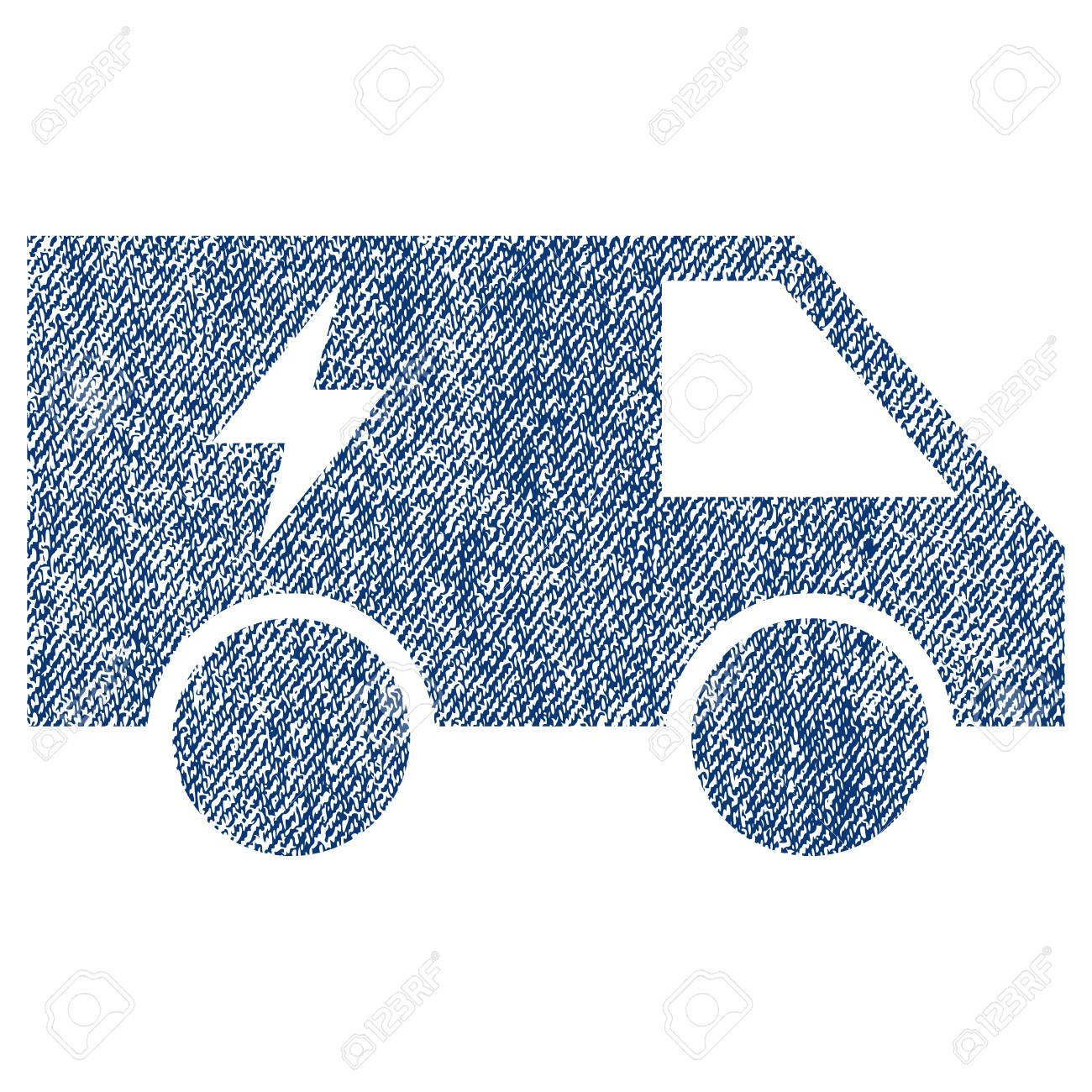 Electric Power Car Raster Textured Icon For Overlay Watermark Stamps Blue Jeans Fabric Rasterized Texture