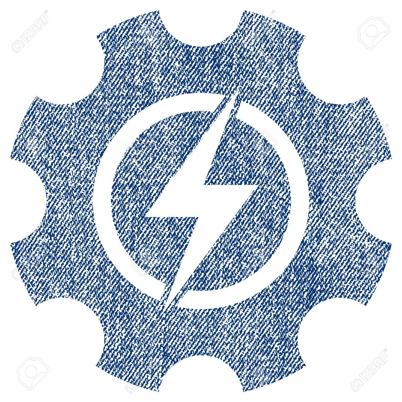 Electric power cog gear raster textured icon for overlay watermark electric power cog gear raster textured icon for overlay watermark stamps blue jeans fabric rasterized biocorpaavc