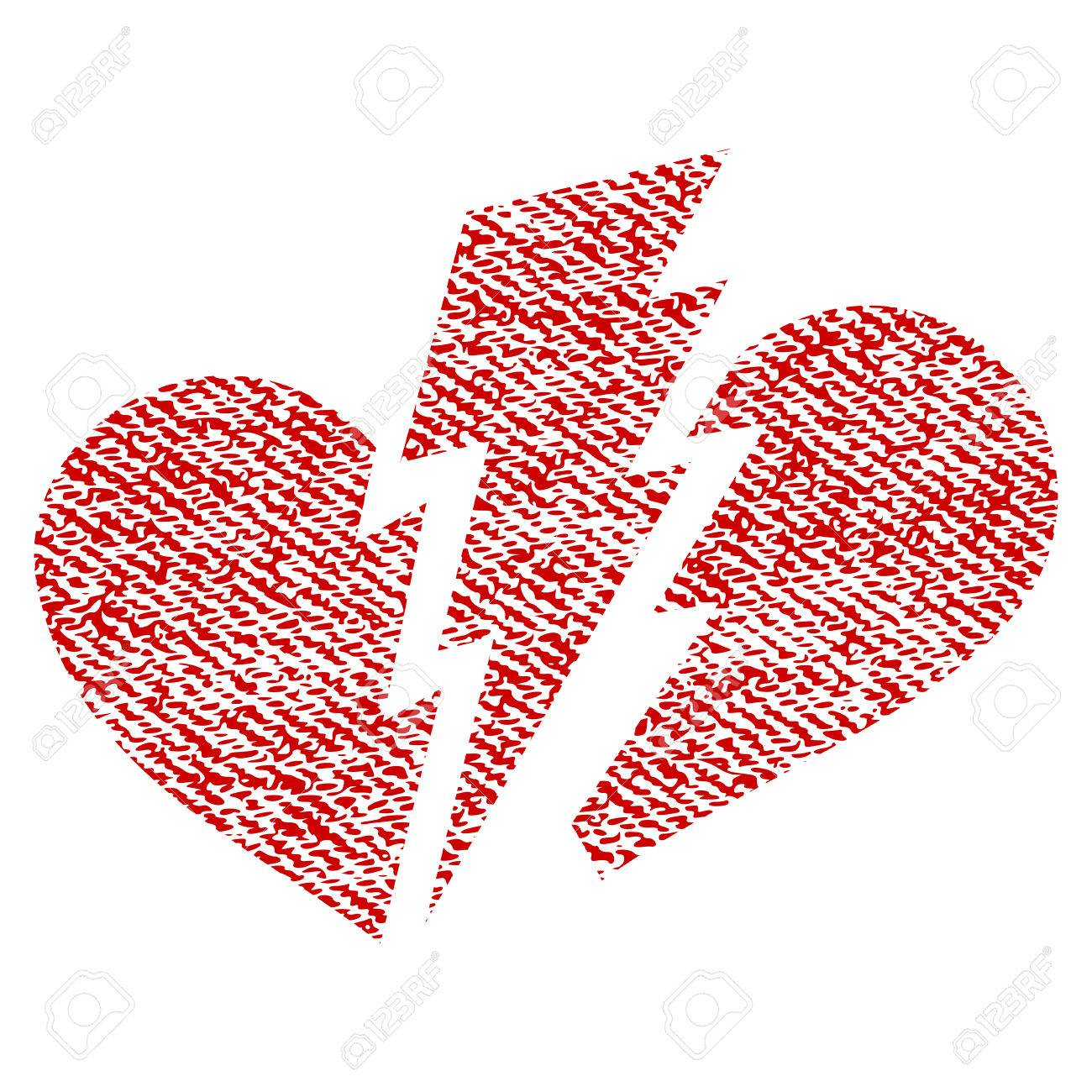 Broken Heart Vector Textured Icon For Overlay Watermark Stamps Red