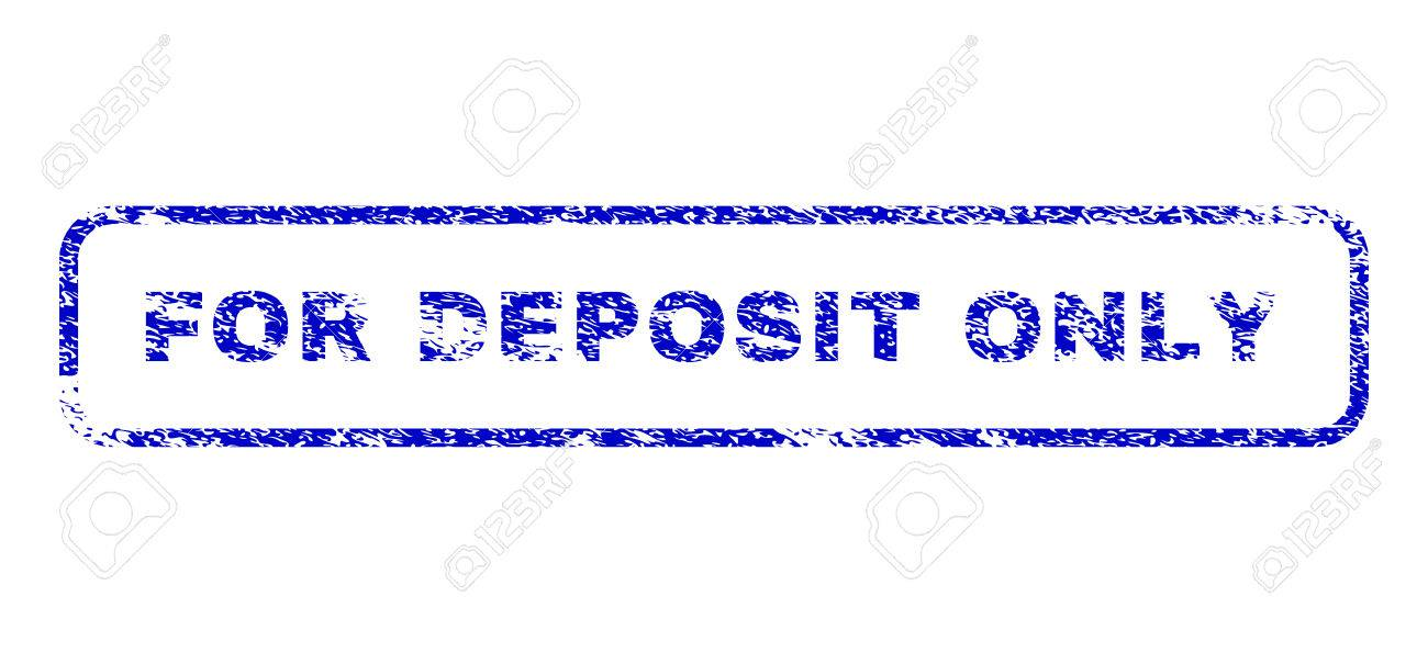 For Deposit Only Caption Scratched Seal Stamp Watermarks Blue Vector Stock
