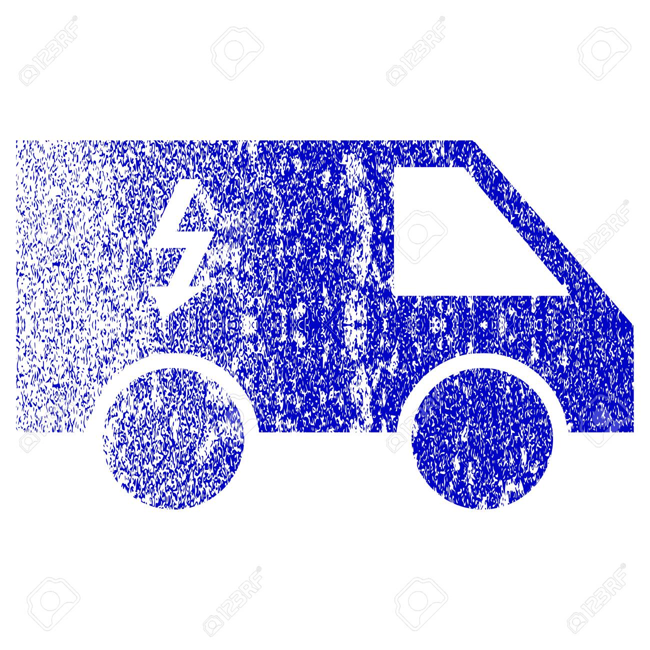 Electrical Car Textured Icon For Overlay Watermark Stamps. Blue ...