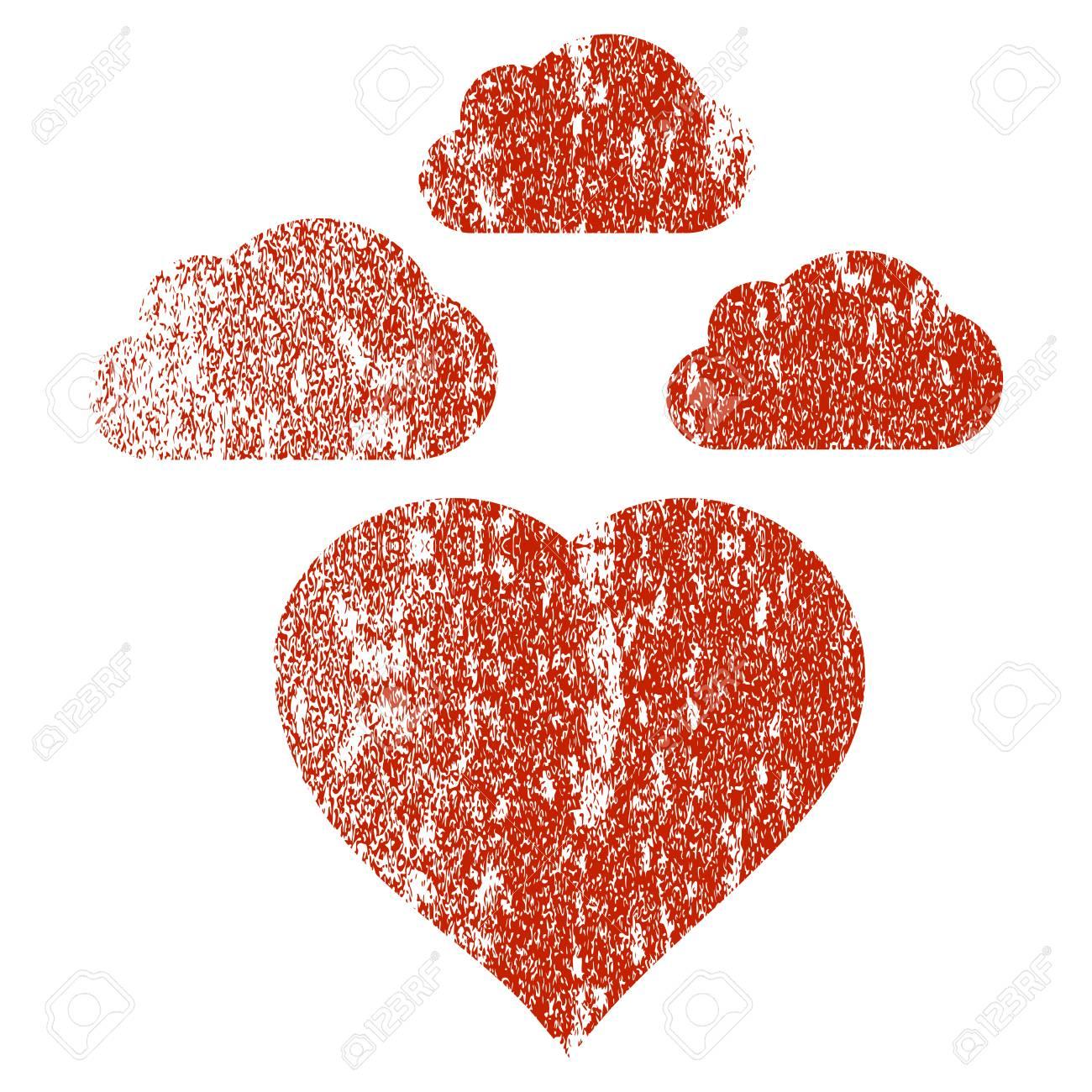 Nublado Amor Corazón Grunge Textura Icono De Sellos De Marca De Agua De Recubrimiento Símbolo Plano Con Textura Sucia Sello De Goma Rojo Texturizado