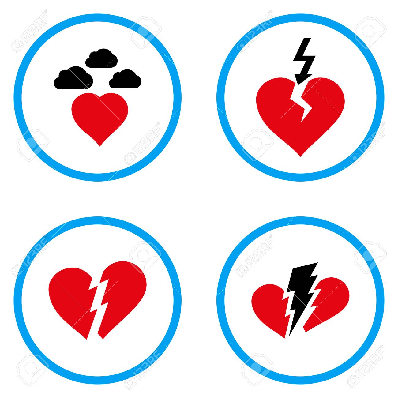Broken Heart Rounded Icons Vector Illustration Style Is A Flat