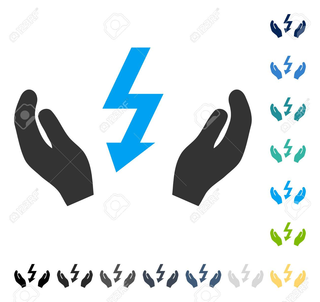 Electrical Power Maintenance Hands Icon. Vector Illustration ...