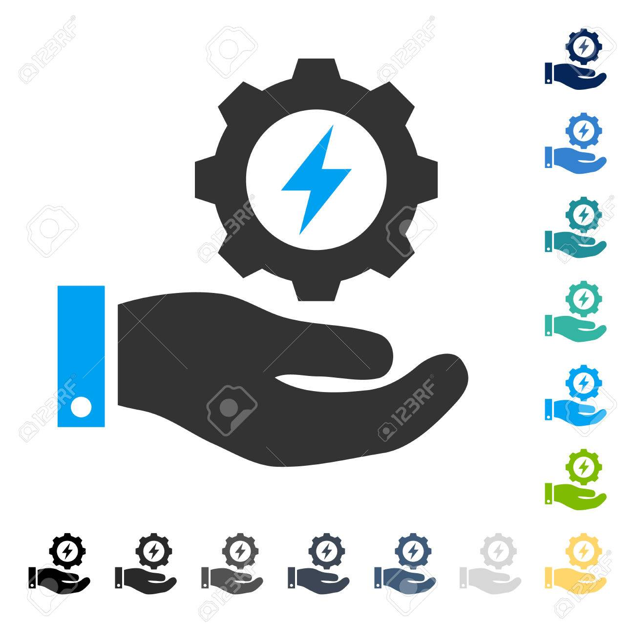 Electricity Gear Service Hand Icon. Vector Illustration Style ...