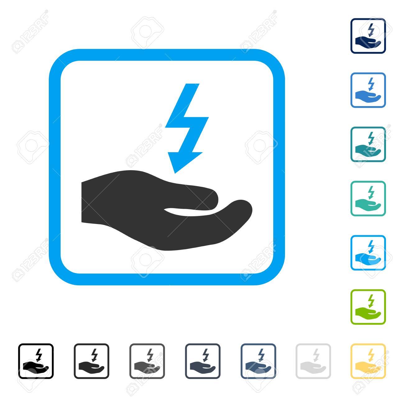 Icono De Mano De Suministro De Electricidad Dentro De Marco De ...