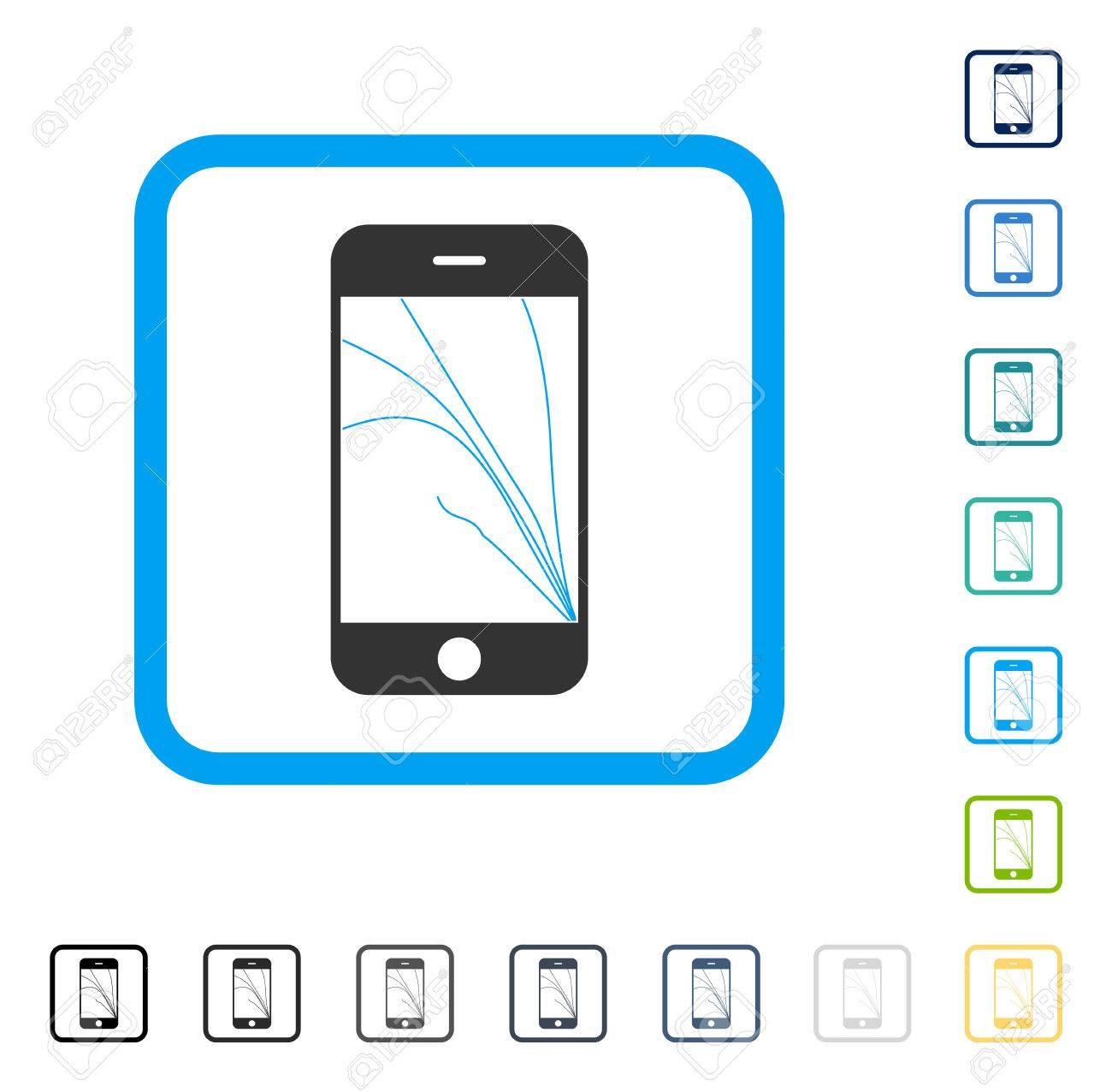 Icono De Grietas De La Pantalla Del Teléfono Inteligente Dentro Del ...