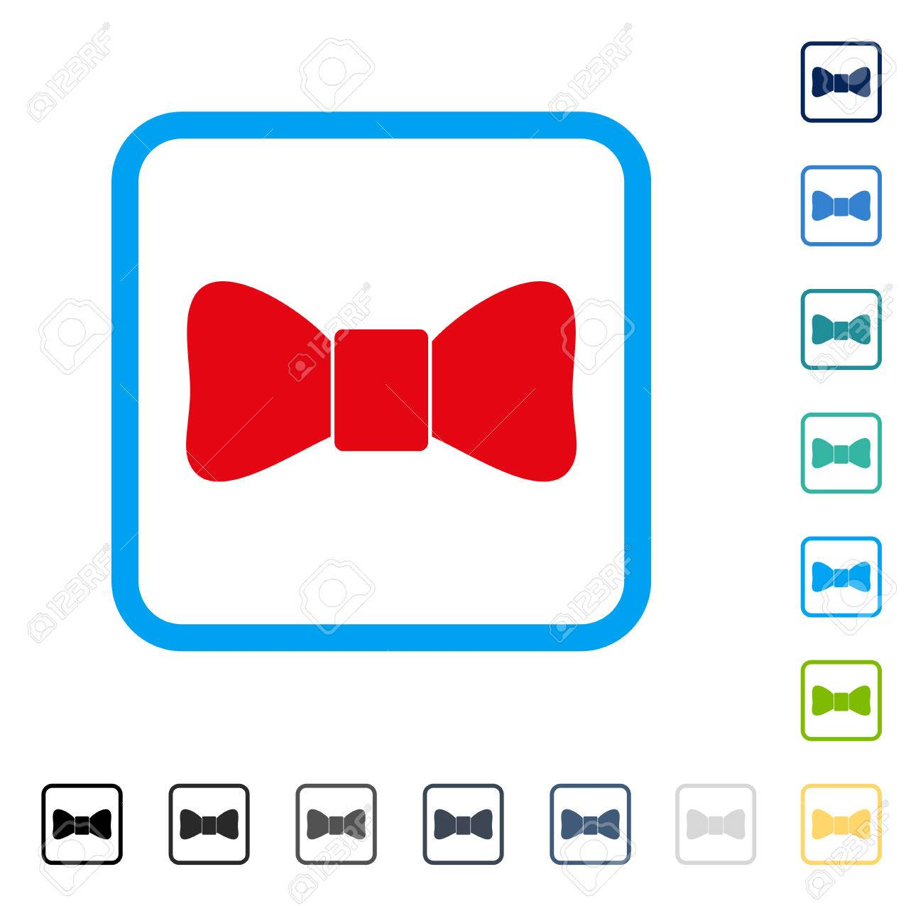 Bow Tie Icon Inside Rounded Square Frame Vector Illustration