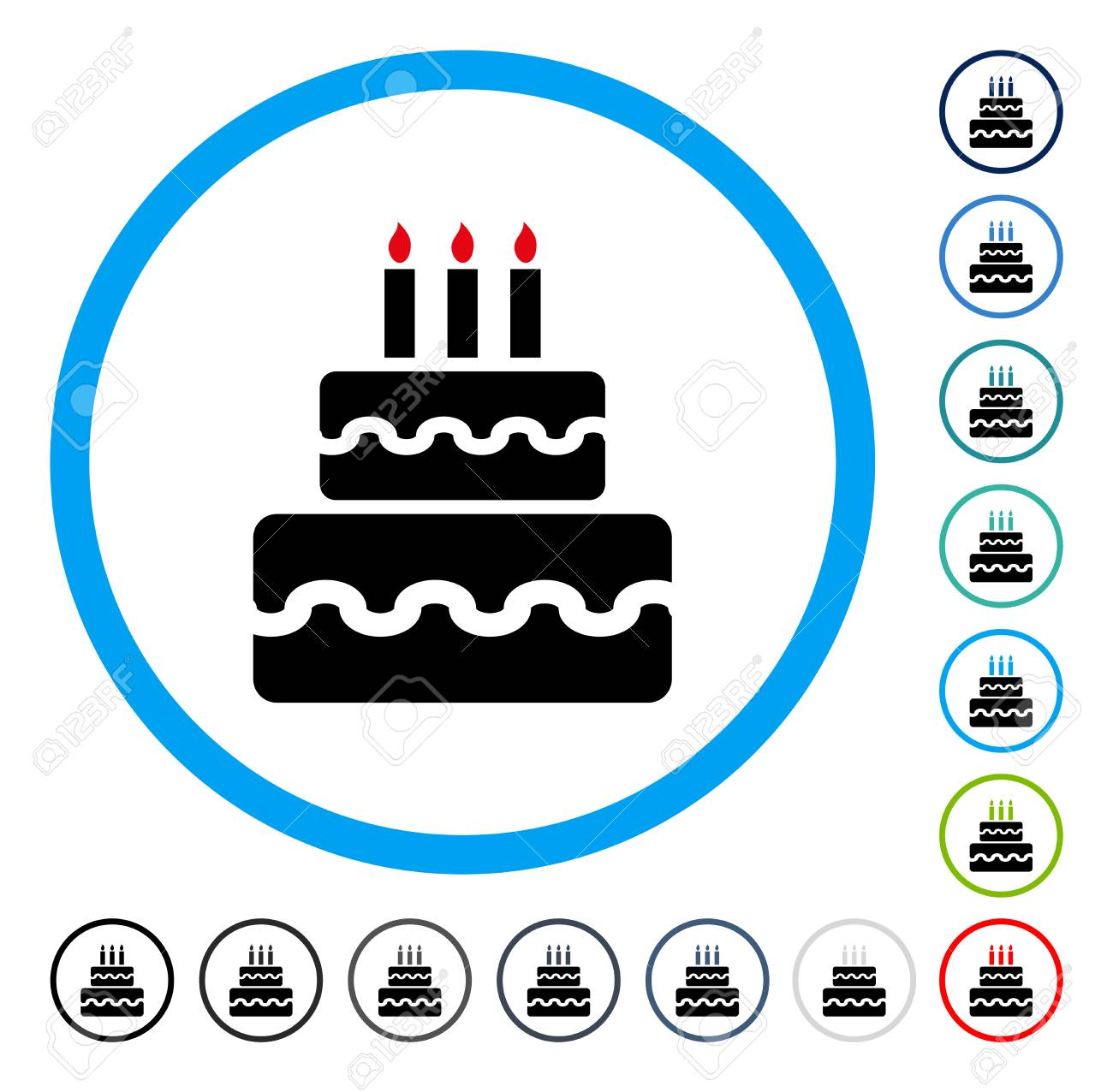 Birthday Cake icon inside circle frame  Vector illustration style