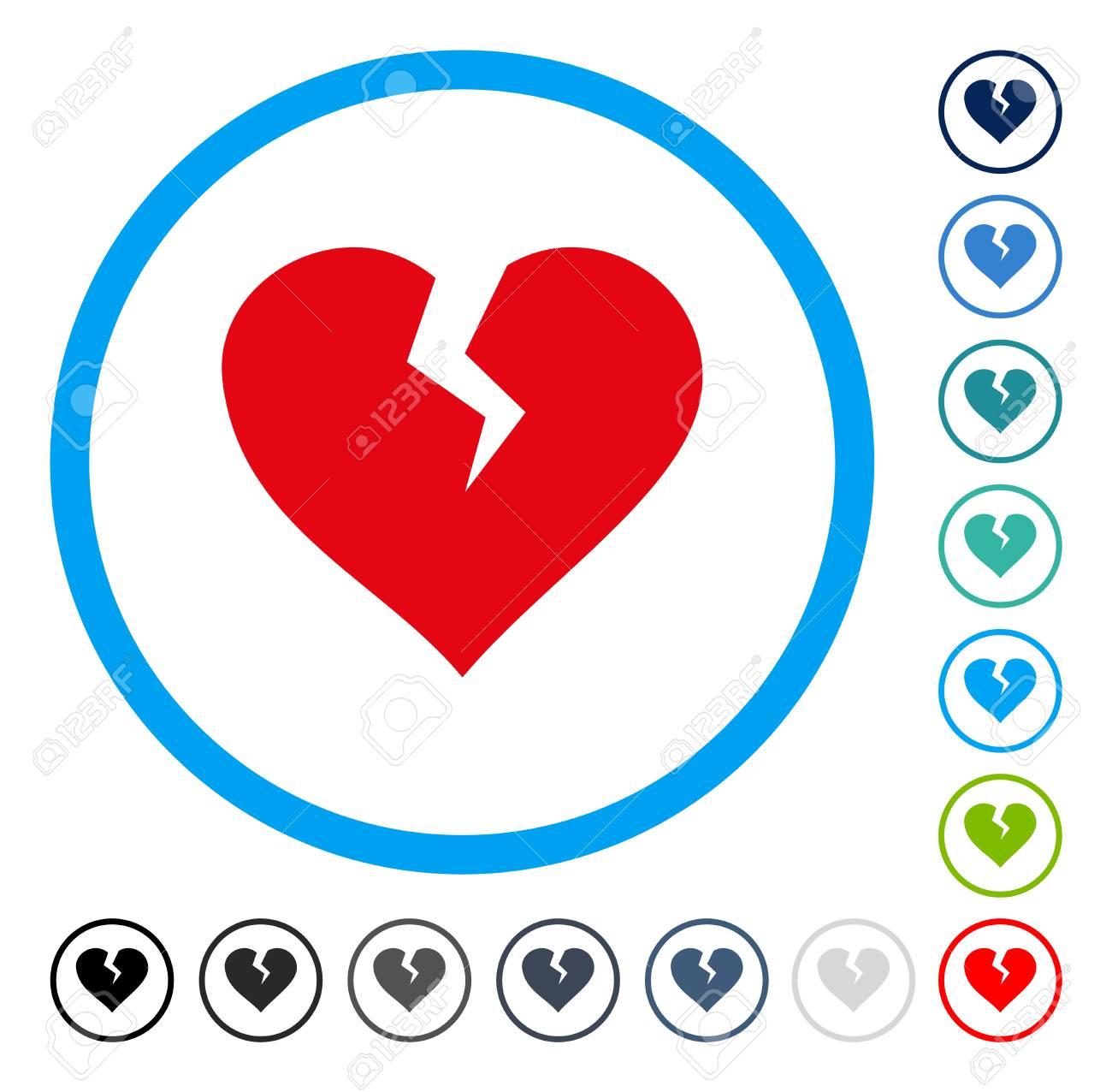 Heart Break Icon Inside Round Frame Vector Illustration Style