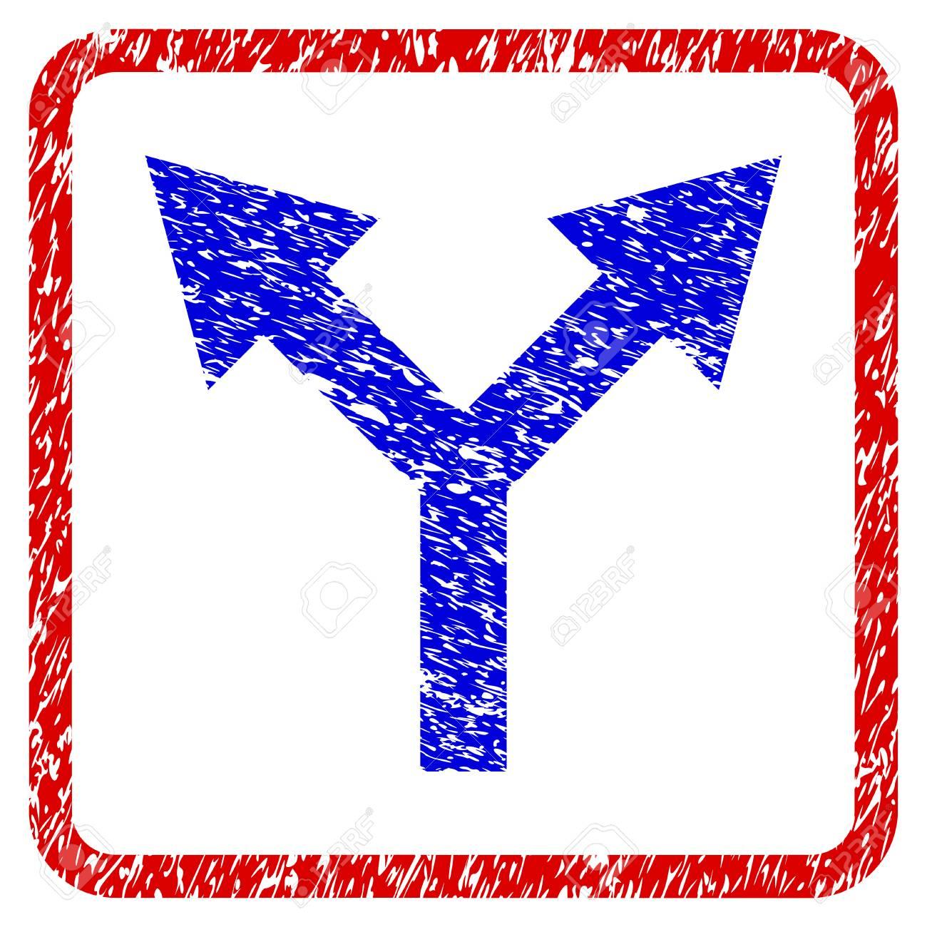 Bifurkation Pfeil Nach Oben Grunge Texturierte Symbol. Abgerundeter ...