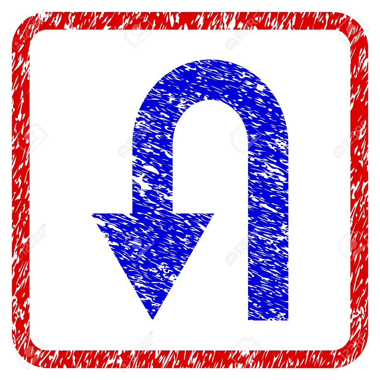 Zurück Grunge Texturierte Symbol. Abgerundeter Roter Rahmen Mit ...