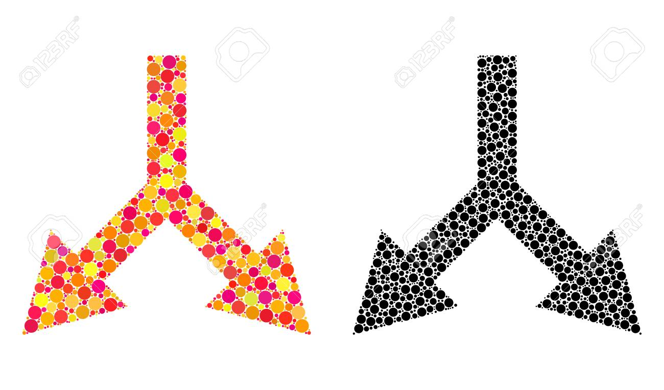 Pixel bifurcation arrow down mosaic icons. Vector bifurcation arrow down icons in bright and black versions. Collages of arbitrary round elements. - 126814772