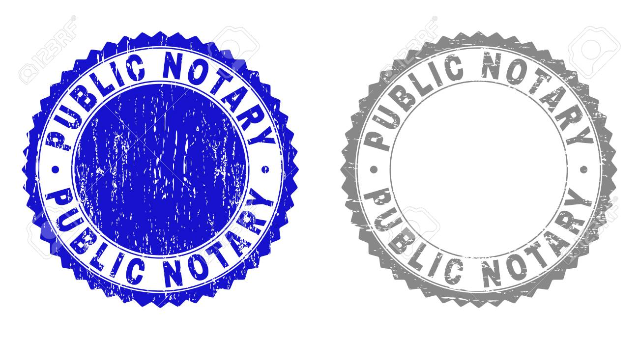 Grunge Public Notary Stamp Seals Isolated On A White Background