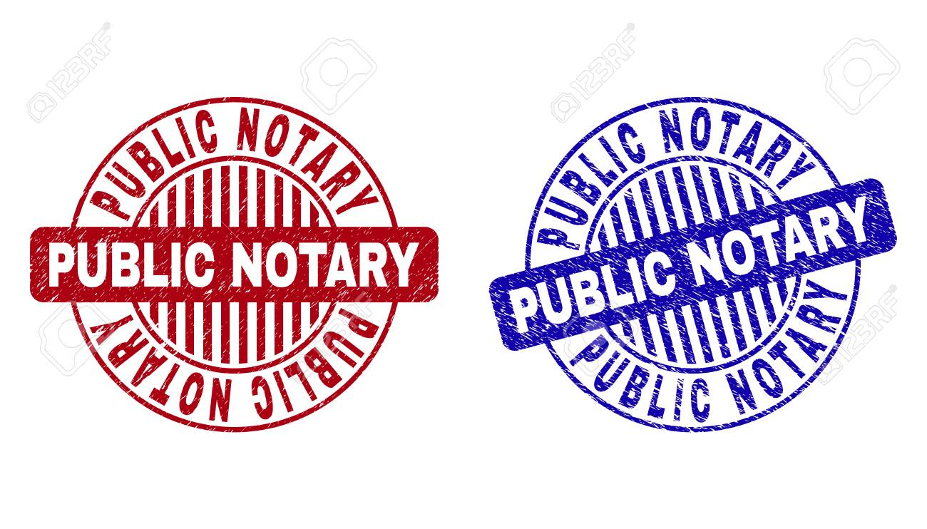 Grunge Public Notary Round Stamp Seals Isolated On A White Background
