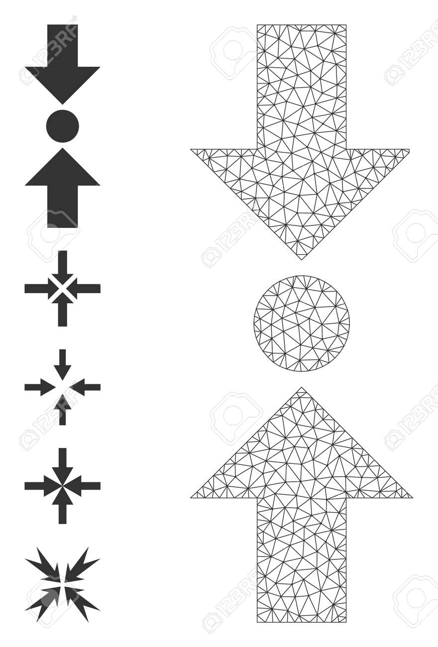 Mesh polygonal pressure vertical icon with simple pictograms. Vector carcass mesh polygonal pressure vertical. Linear carcass 2D mesh in vector format. - 172381200