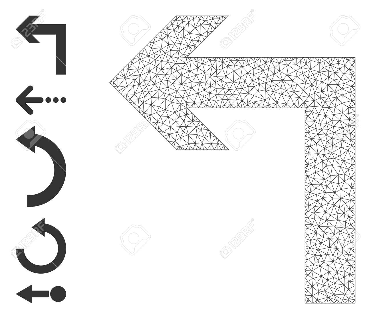Mesh network turn left icon with simple carcass created from turn left vector illustration. Carcass mesh polygonal turn left. Linear carcass flat mesh in vector format. - 172381205