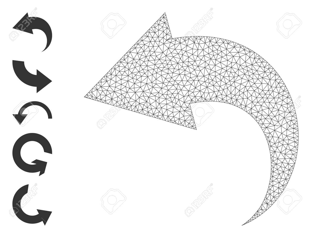 Mesh polygonal undo icon with simple carcass created from undo vector illustration. Carcass mesh polygonal undo. Linear carcass flat network in vector format. - 172393880