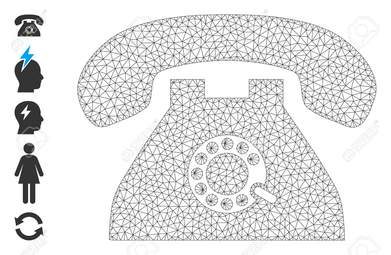 Mesh polygonal pulse phone icon with simple carcass created from pulse phone vector graphics. Carcass mesh polygonal pulse phone. Wire carcass flat network in vector format. - 172393883