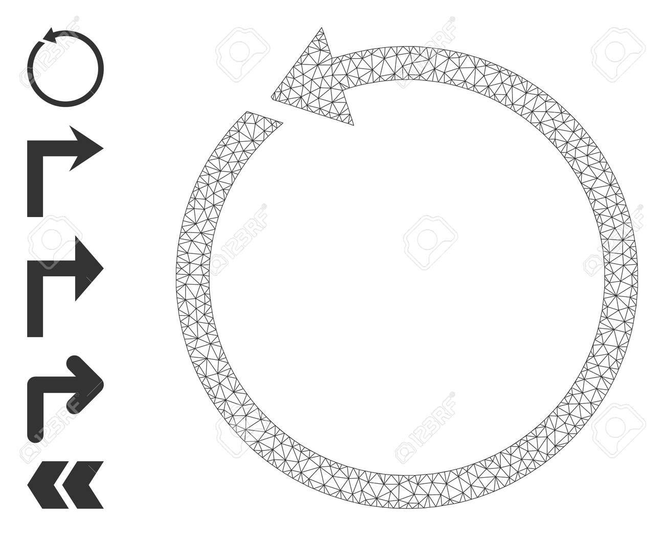 Mesh polygonal rotate ccw icon with simple pictograms. Vector model created from rotate ccw vector graphics. Frame mesh polygonal rotate ccw. carcass 2D mesh in vector format. - 172393885