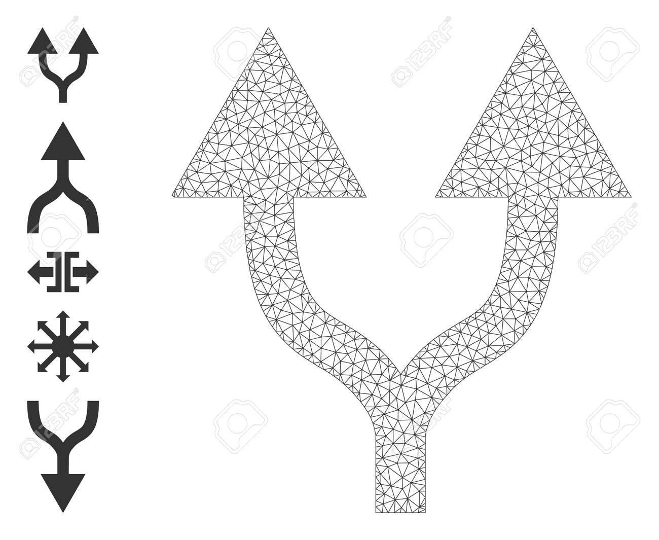 Mesh polygonal split arrows up icon with simple glyphs created from split arrows up vector illustration. Carcass mesh polygonal split arrows up. Wire carcass 2D mesh in vector format. - 172393928