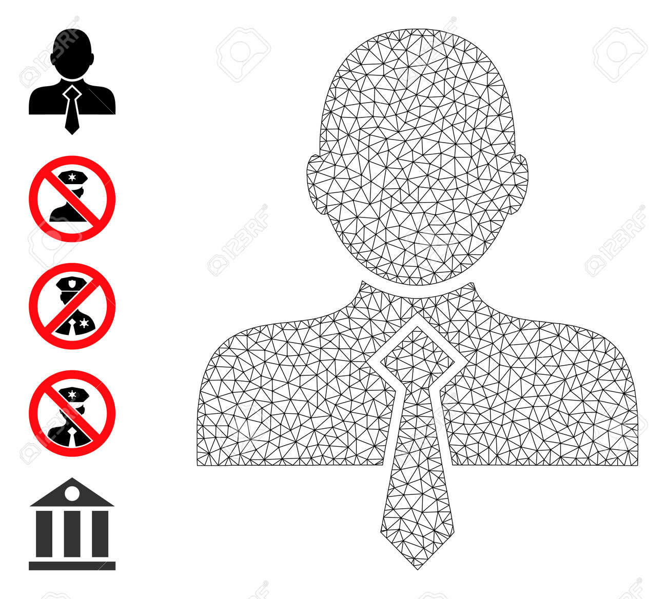Mesh net office man icon with simple glyphs created from office man vector graphics. Frame mesh polygonal office man. Wire frame flat mesh in vector format. - 172393931