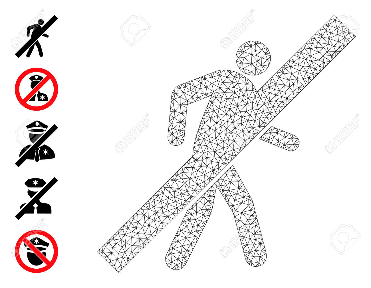 Mesh polygonal no walking man icon with simple carcass created from no walking man vector graphics. Carcass mesh polygonal no walking man. Linear carcass flat mesh in vector format. - 172393934