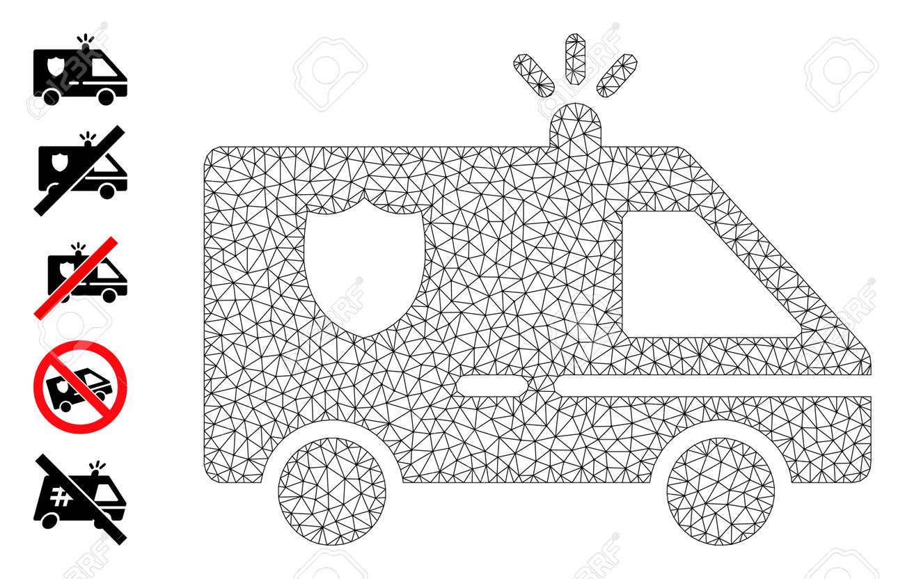 Mesh web police car icon with simple carcass created from police car vector graphics. Carcass mesh polygonal police car. Linear carcass 2D mesh in vector format. - 172393938