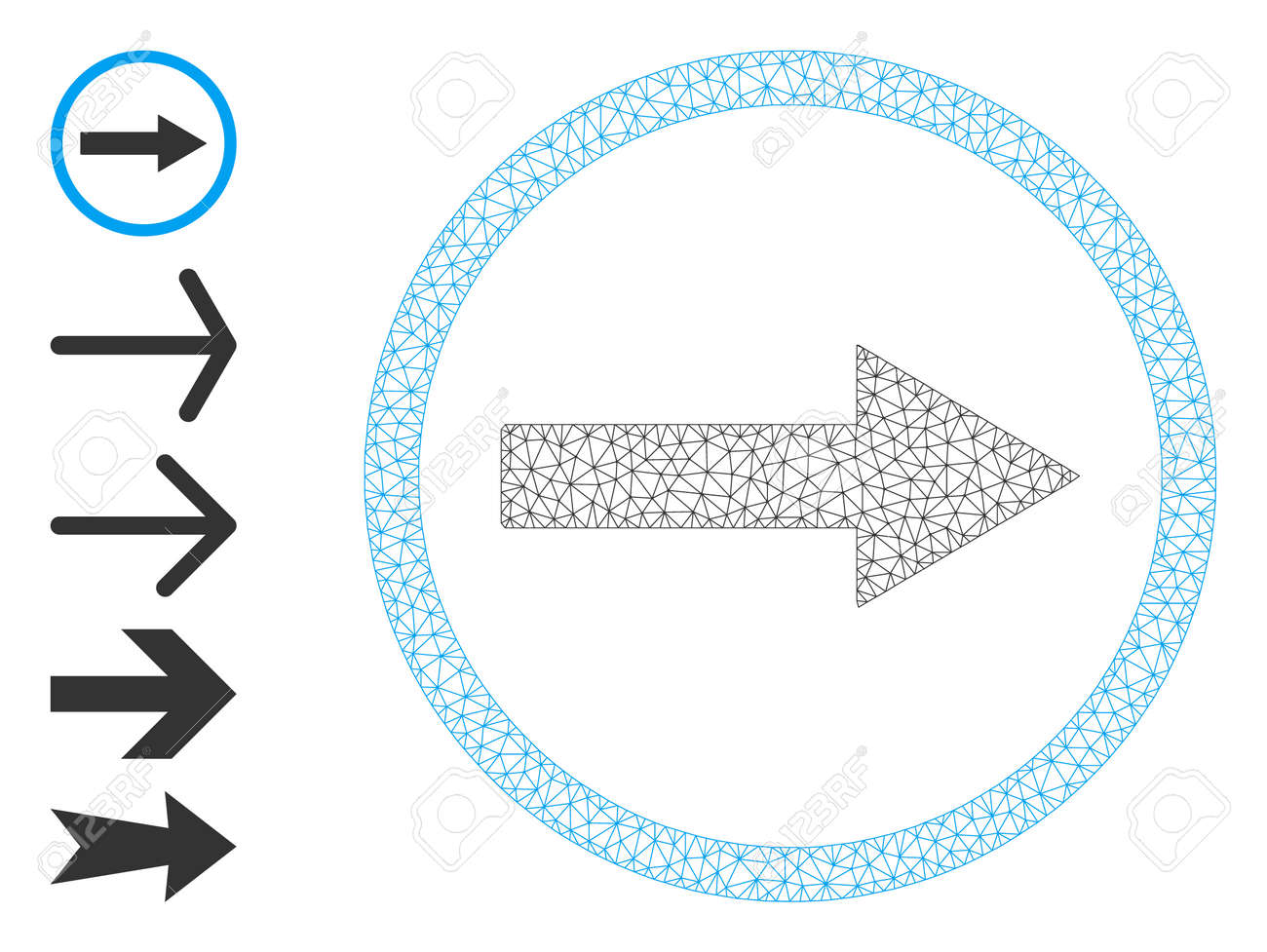 Mesh polygonal right rounded arrow icon with simple symbols created from right rounded arrow vector graphics. Frame mesh polygonal right rounded arrow. Wire frame flat mesh in vector format. - 172393941