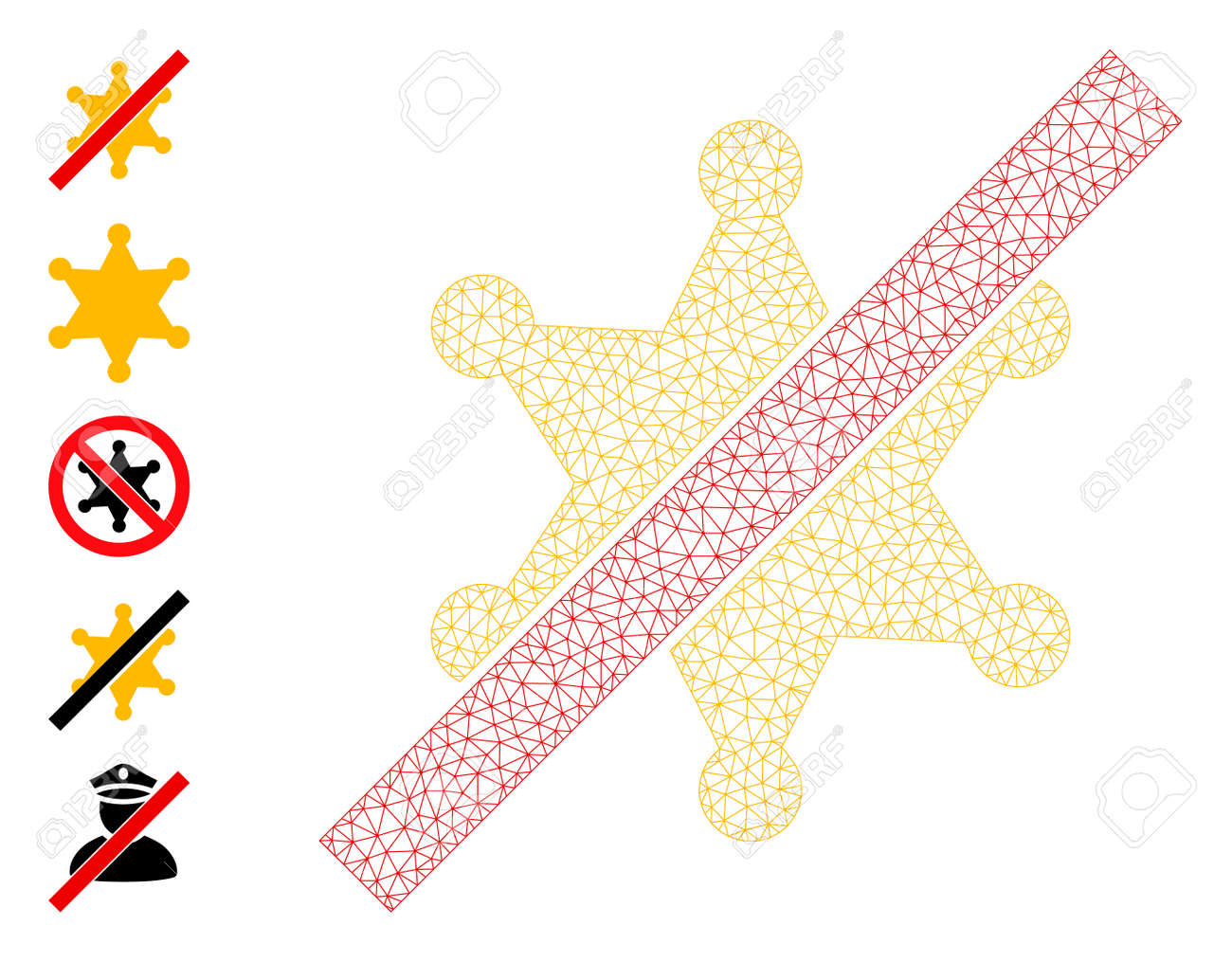 Mesh polygonal no sheriff star icon with simple symbols created from no sheriff star vector graphics. Carcass mesh polygonal no sheriff star. Wire carcass 2D mesh in vector format. - 172393994