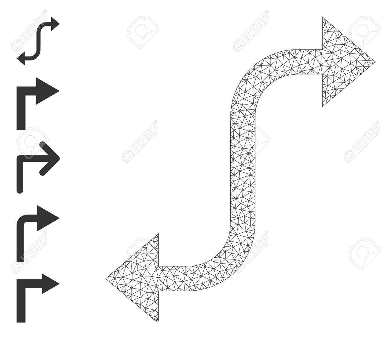 Mesh network opposite bend arrow icon with simple glyphs created from opposite bend arrow vector graphics. Carcass mesh polygonal opposite bend arrow. Wire carcass 2D network in vector format. - 172393995
