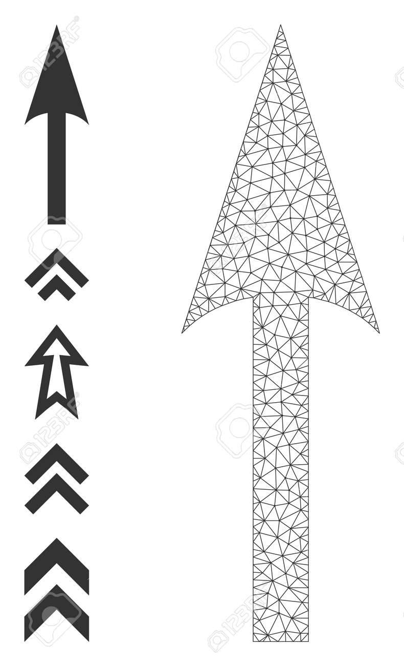 Mesh polygonal sharp arrow up icon with simple carcass created from sharp arrow up vector graphics. Frame mesh polygonal sharp arrow up. Linear frame 2D mesh in vector format. - 172394001