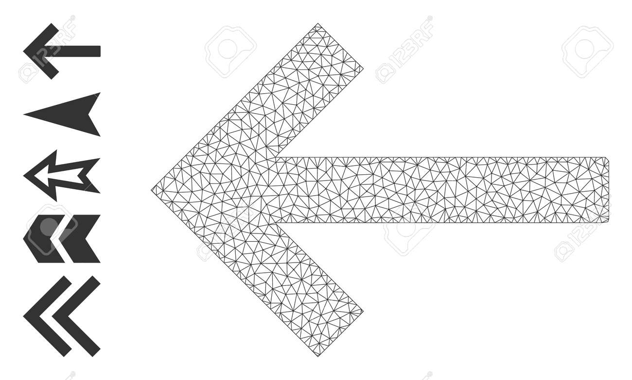 Mesh web left arrow icon with simple symbols created from left arrow vector graphics. Frame mesh polygonal left arrow. Wire frame flat mesh in vector format. - 172394007
