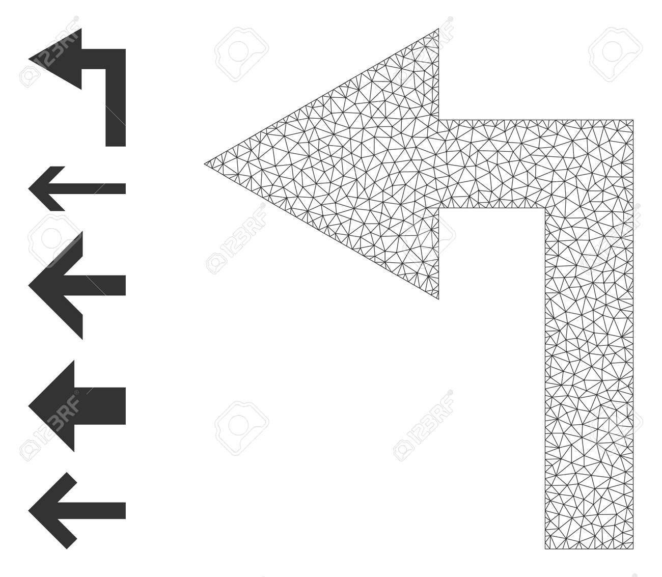 Mesh polygonal turn left icon with simple carcass created from turn left vector graphics. Frame mesh polygonal turn left. Wire frame 2D mesh in vector format. - 172394052