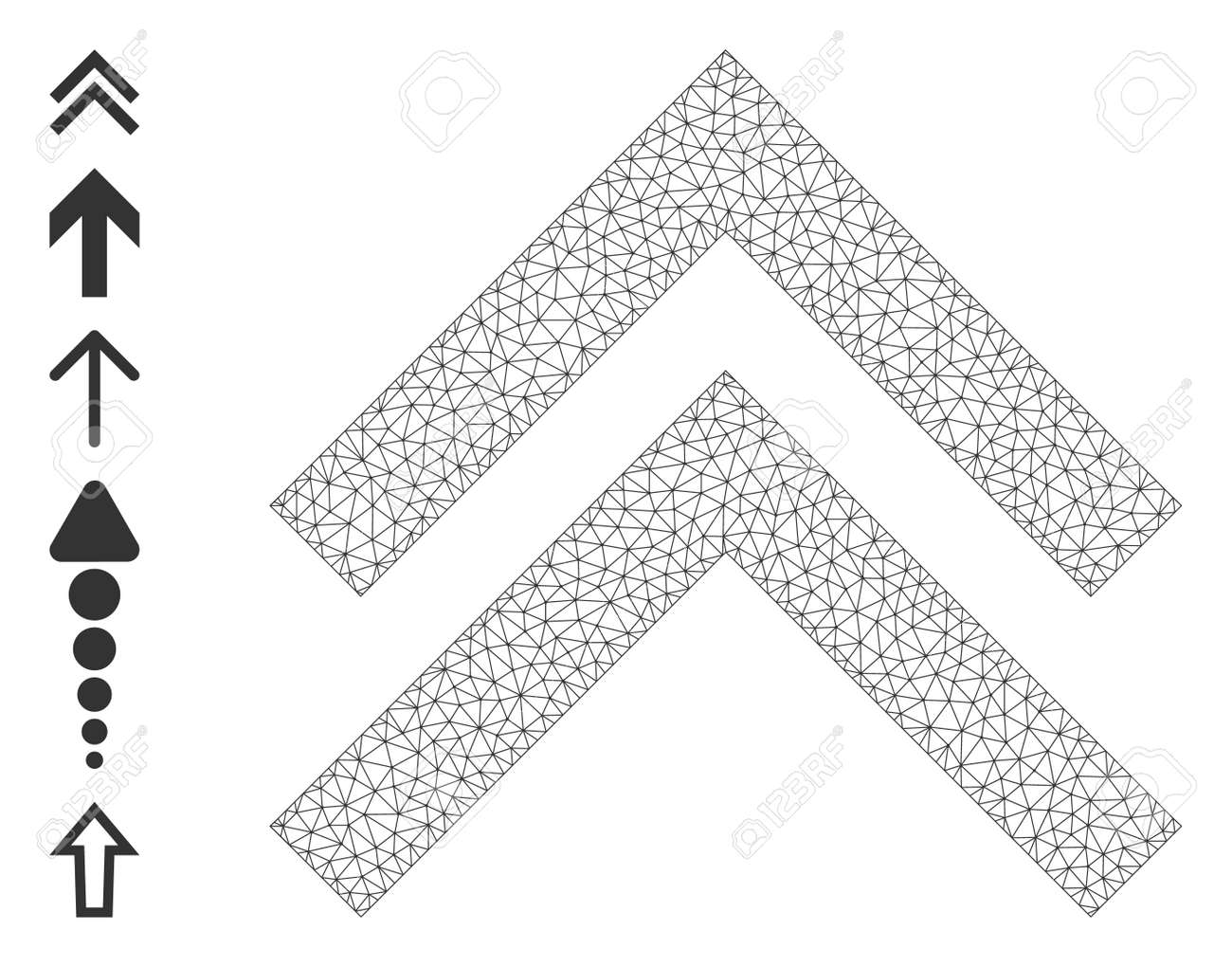 Mesh polygonal shift up icon with simple symbols created from shift up vector graphics. Frame mesh polygonal shift up. Linear frame 2D network in vector format. - 172394053