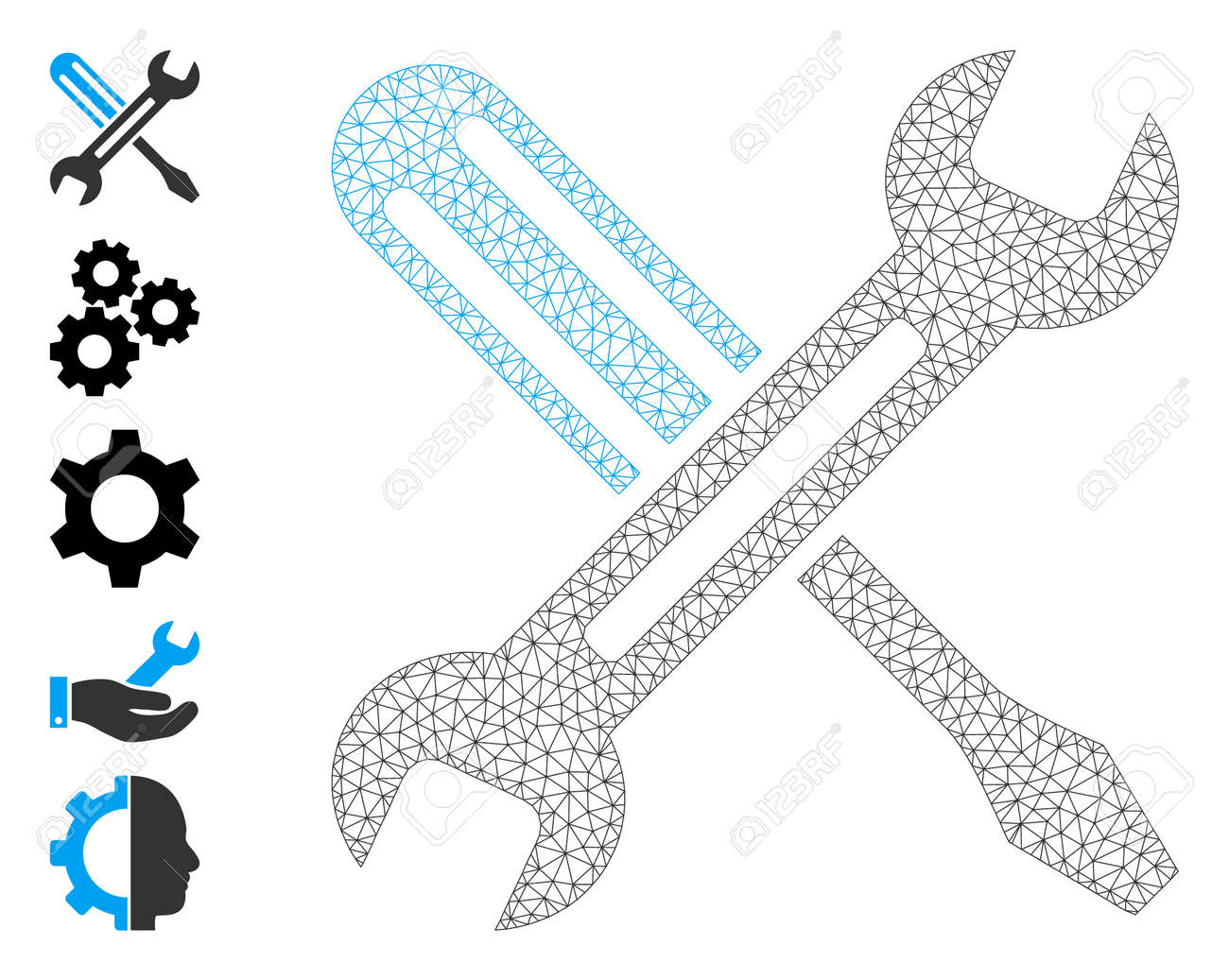 Mesh net tuning icon with simple pictograms. Vector model created from tuning vector graphics. Frame mesh polygonal tuning. carcass flat mesh in vector format. - 172394061