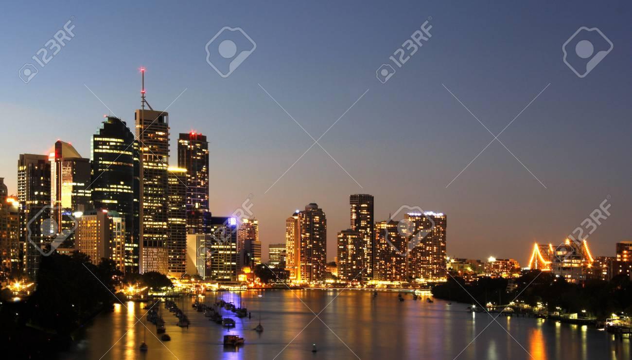 Brisbane Australia by the river  Night Stock Photo - 4157388