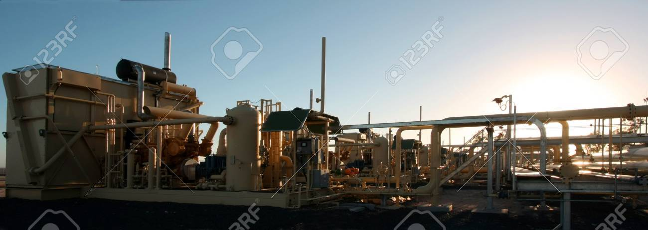 Naturalgas compressor satitions in early morning sunlight Stock Photo - 4354353