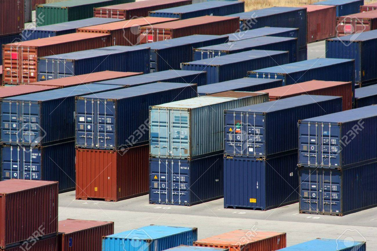 Stacks Of Sea Containers In An International Port Container ...