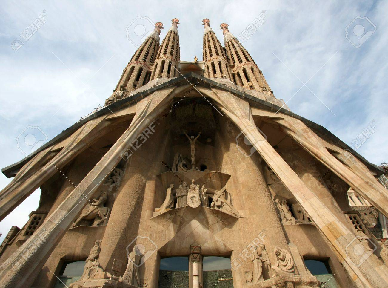 Facade of Sagrada Familia in  Barcelona Spain  Stock Photo - 6342986