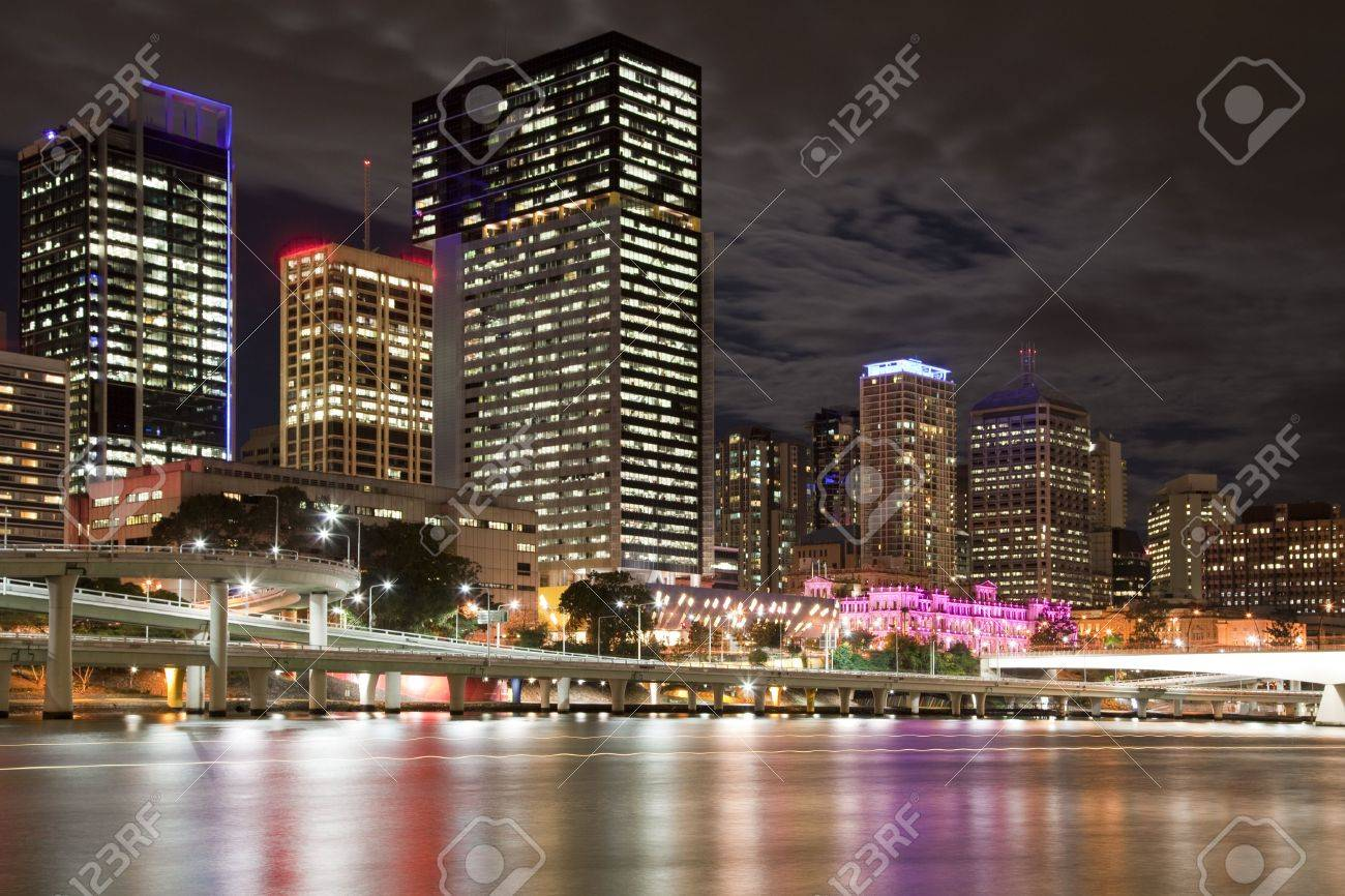 Brisbane night city view, Queensland Australia Stock Photo - 7826976
