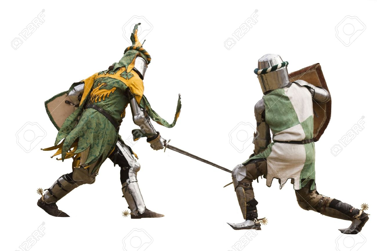 Two knights fighting  Isolated Stock Photo - 8126530