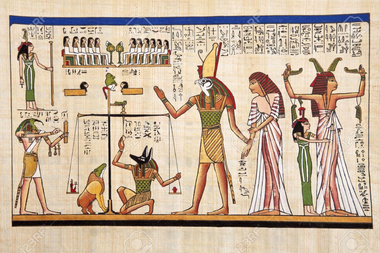 Antique egyptian papyrus and hieroglyph Stock Photo - 8126534