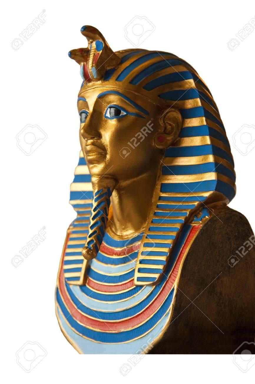 Golden pharaoh bust isolated on white Stock Photo - 8498122