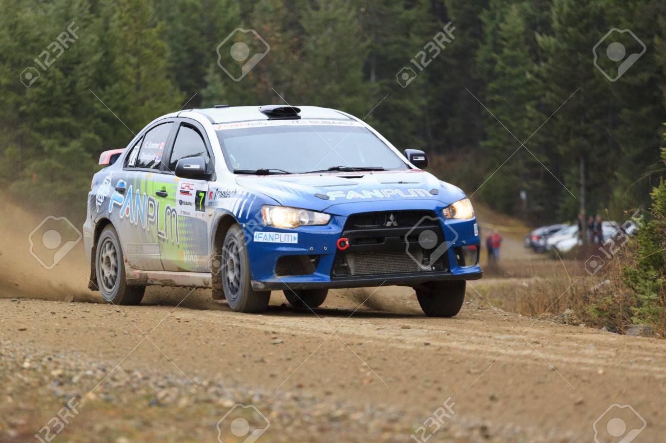 ROCKY MOUNTAIN CANADA - NOV 2 2014: Canadian Rally Car Championship