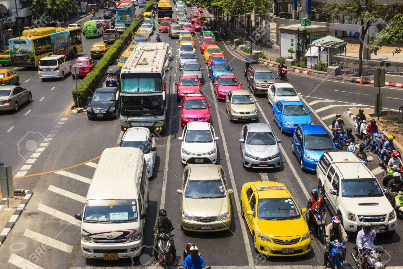 BANGKOK APRIL 27: Traffic moves slowly along a busy road in Sathorn