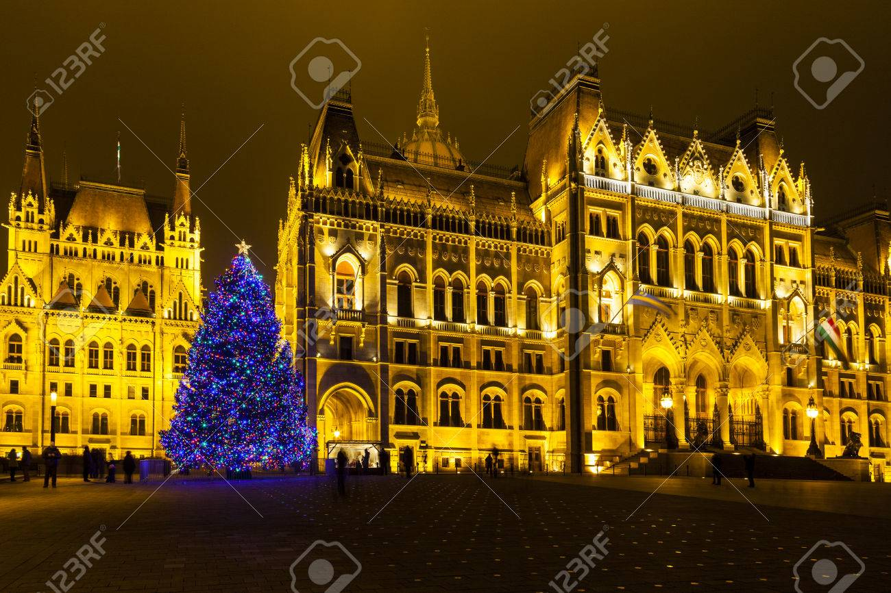 Traditional Christmas Lights.Tourists Enjoy The Christmas Lights At The Parliament House In