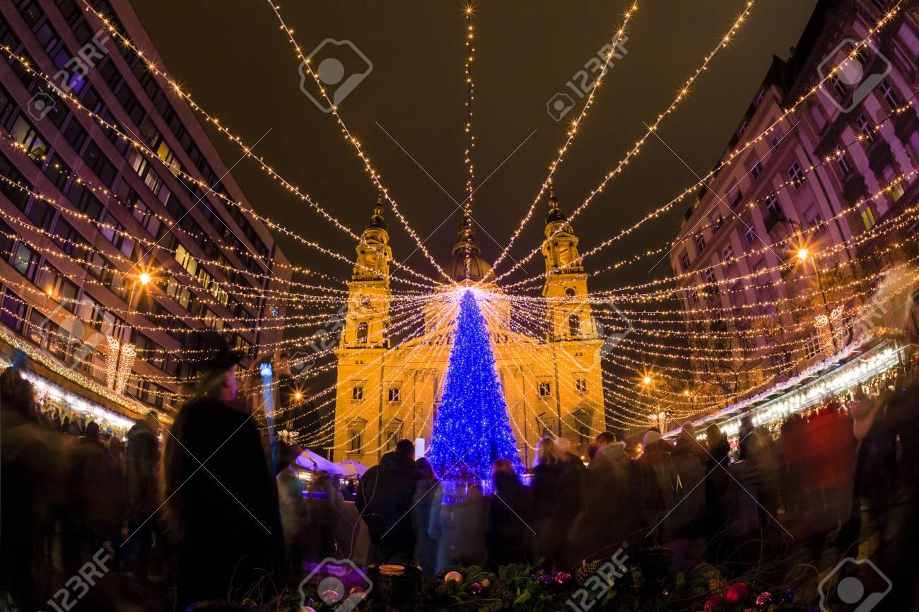 Traditional Christmas Lights.Budapest Hungary Dec 19 2015 Tourists Enjoy The Christmas