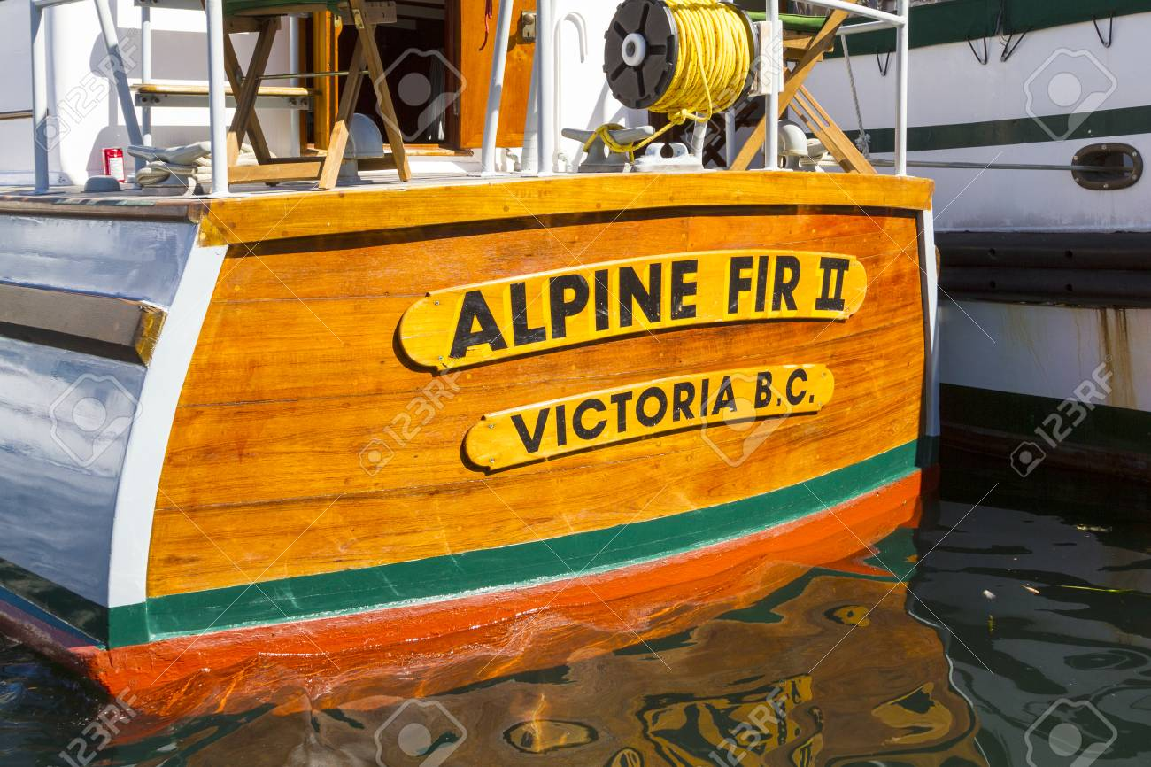 Stock Photo - VICTORIA BC CANADA SEPT 3 2017: Vintage boat sails on the  Victoria Classic Boat Festival. This vinta