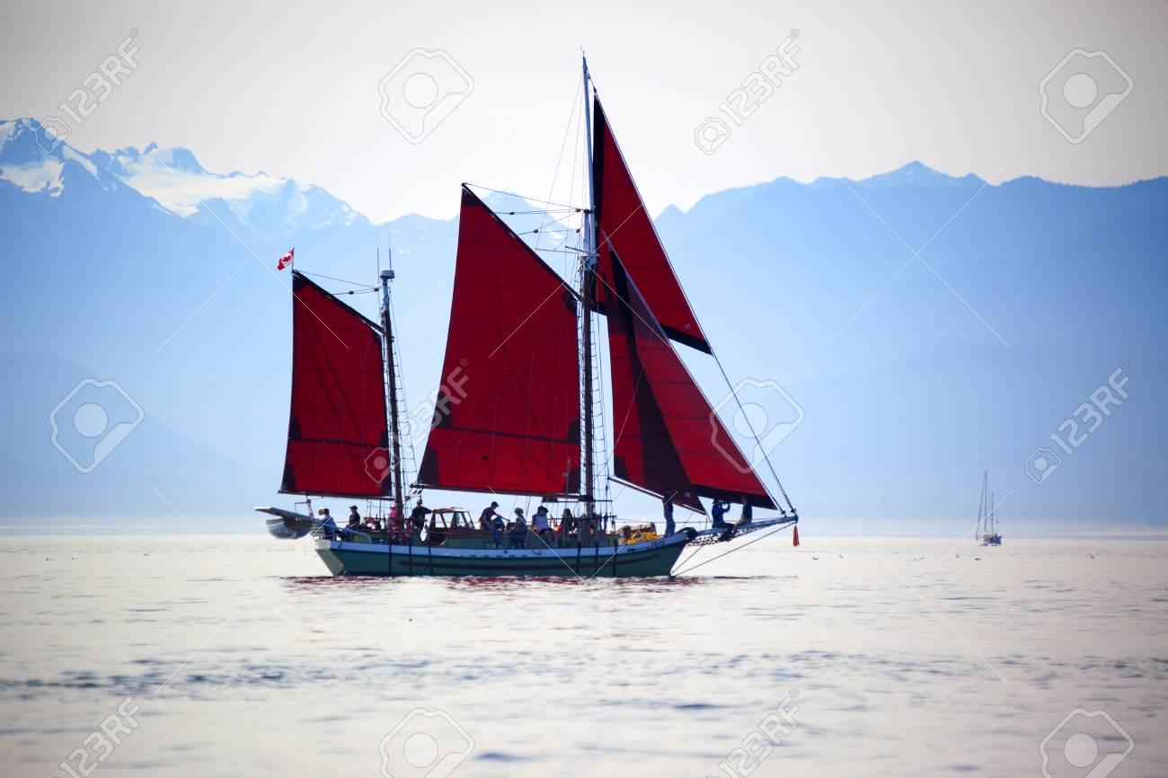 VICTORIA BC CANADA SEPT 3 2017: Vintage boat sails on the Victoria